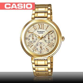 【CASIO 卡西歐 SHEEN 系列】送禮首選_日期顯示_不鏽鋼錶帶_防水_氣質女錶(SHE-3034GD)
