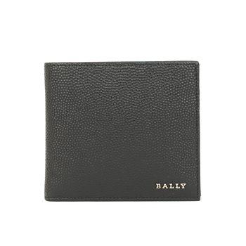 BALLY防刮皮革金印字男對折短夾(黑色)