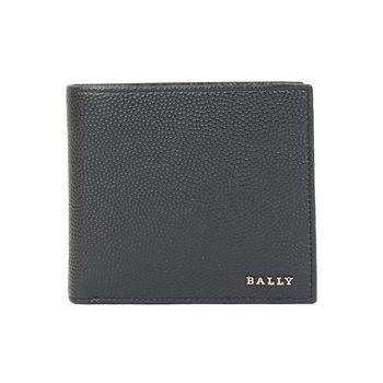 BALLY防刮皮革金印字男對折短夾(深藍)