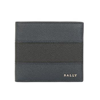 BALLY 防刮皮革男撞色對折短夾(深藍/黑)