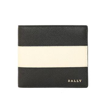 BALLY 防刮皮革男撞色對折短夾(黑白)