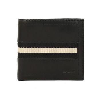 BALLY 皮革織袋男對折短夾(黑色)