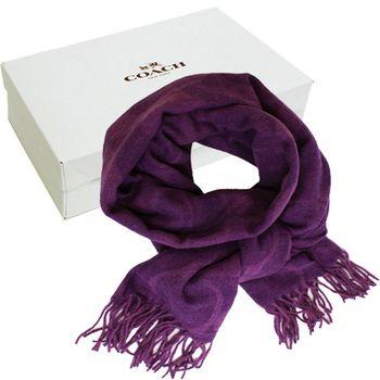 【COACH】經典COACH LOGO 安哥拉羊毛混喀什米爾雙色流蘇圍巾(紫色)