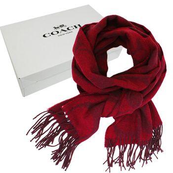 【COACH】經典COACH LOGO 安哥拉羊毛混喀什米爾雙色流蘇圍巾(暗紅)