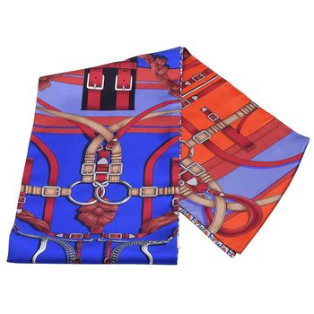 HERMES 愛馬仕Grand Manegea法式馬術圖騰Maxi Twilly披肩/絲巾(大-皇家藍X紅色)