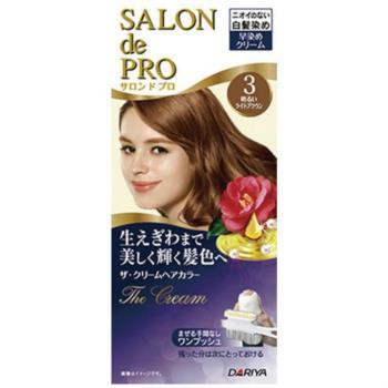 日本dariya沙龍級ONE PUSH女士用白髮染髮乳(#3淺棕色)*3