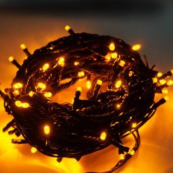 100燈LED燈串聖誕燈 (黃光黑線)(附控制器跳機)(高亮度又省電)