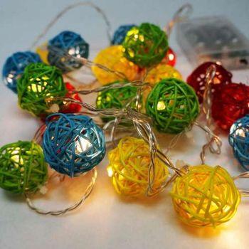 聖誕燈 LED20燈彩色樹藤球電池燈 (暖白光) (高亮度又環保)
