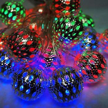 聖誕燈 LED20燈彩光金屬球電池燈 (高亮度又環保)