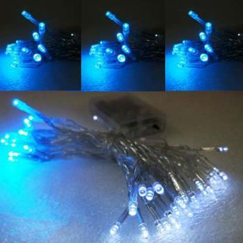 聖誕燈 LED燈串50燈電池燈 (藍白光)(透明線) (高亮度又環保)