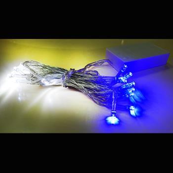 聖誕燈 LED燈串20燈電池燈 (藍白光)(透明線) (高亮度又環保)