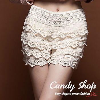 Candy小舖 新品特色款 混血名模花蕾絲多層蛋糕襯褲0089247-共2色