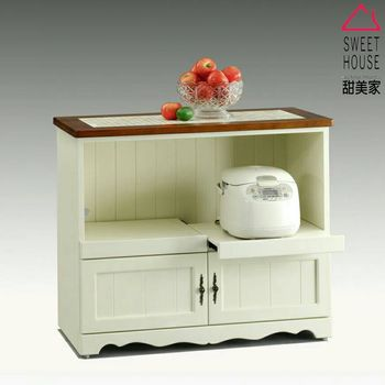 【甜美家】鄉村風全實木高雅白色3.3尺電器櫃(餐櫃)