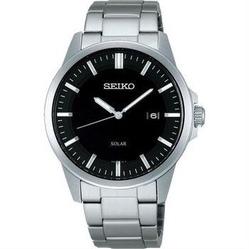 SEIKO SPIRIT 極簡太陽能腕錶-黑x銀/39mm V147-0AV0D(SBPN091J)