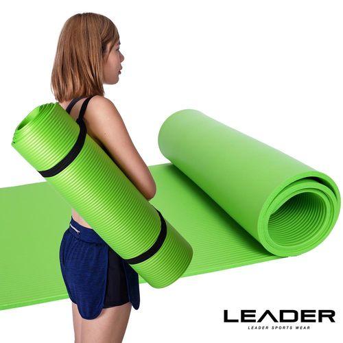 Leader X 環保NBR高密度減震防滑瑜珈墊10mm附收納背帶 綠色