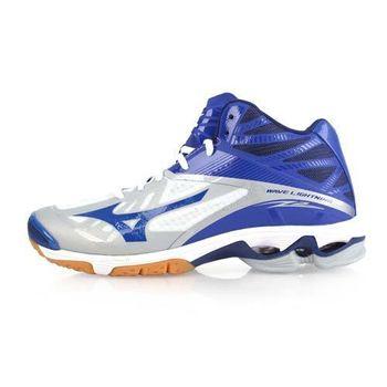 【MIZUNO】WAVE LIGHTNING Z2 MID男排球鞋-美津濃 藍白淺灰