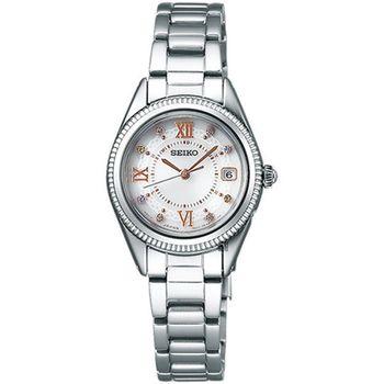 SEIKO 精工 Vivace 太陽能愛戀電波不鏽鋼女用腕錶/25mm/1B22-0BZ0S