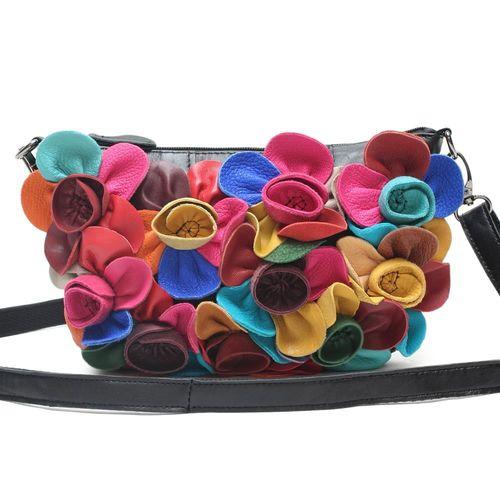 【KANDI】優雅俏麗布花牛皮手提包(共2色)