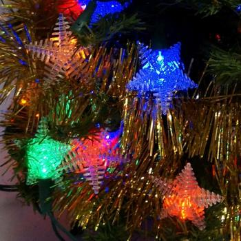 聖誕燈 LED燈50燈星星造型燈(彩色光)(省電高亮度)(附IC控制器跳機)