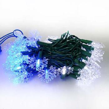 聖誕燈LED燈50燈雪花造型燈(藍白光綠線) (省電高亮度)(附IC控制器跳機)