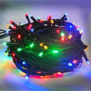 音樂LED燈串聖誕燈-100燈樹燈串 (四彩光黑線)(附控制器跳機)(高亮度省電有聖誕音樂)