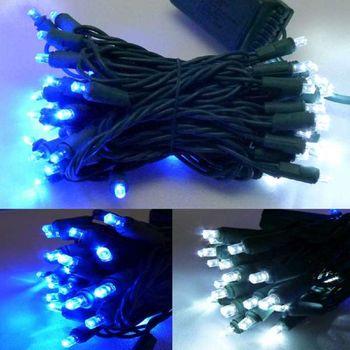 50燈LED燈串聖誕燈 (藍白光綠線插電式)(附控制器跳機)(高亮度又省電)