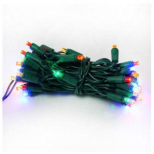 50燈LED燈串聖誕燈 (四彩色光綠線)(附控制器跳機)(高亮度又省電)