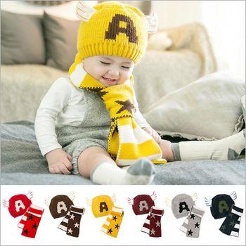 可愛冬季保暖字母A美國隊長毛線帽 護耳帽+圍巾 兩件套組