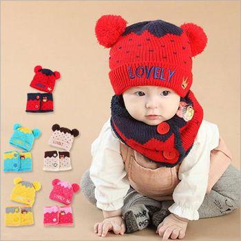 可愛雙球米奇皇冠保暖針織毛線帽