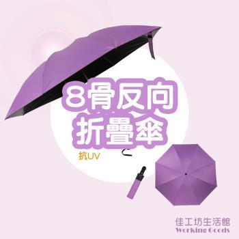 全自動折疊黑膠抗UV晴雨傘-淺紫