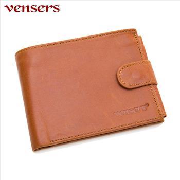 【vensers】小牛皮潮流個性皮夾~NB0500101土黃短夾
