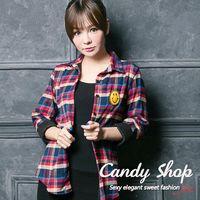 Candy 小鋪   英式格紋微笑貼圖襯衫上衣 ^#40 黑 ^#47 藍 ^#47 紅