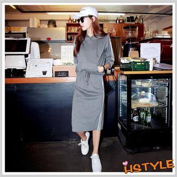 套裝 條紋繫帶連帽運動長袖及膝裙套裝JM6060-創翊韓都