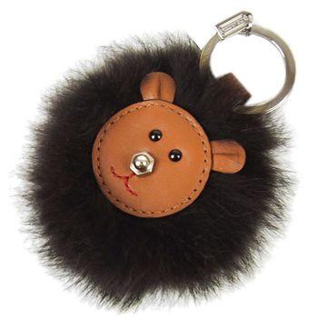COACH 絨毛熊獅皮革鑰匙圈