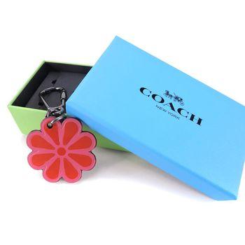 COACH 花朵造型皮革鑰匙扣(粉紅)