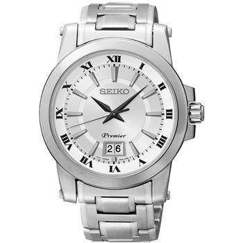 SEIKO 精工 Premier 大日期經典石英不鏽鋼腕錶/銀/40mm/6N76-00B0S