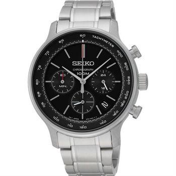 SEIKO CS系列都會計時碼錶-黑/41mm 8T63-00A0D(SSB165P1)
