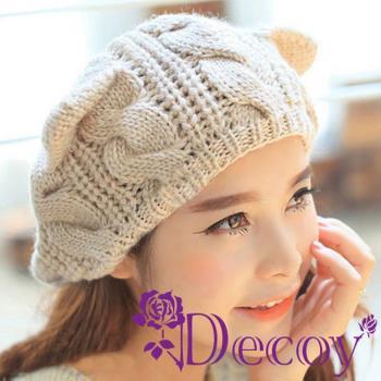 【Decoy】摺耳貓咪*麻花編織毛線帽/二色可選