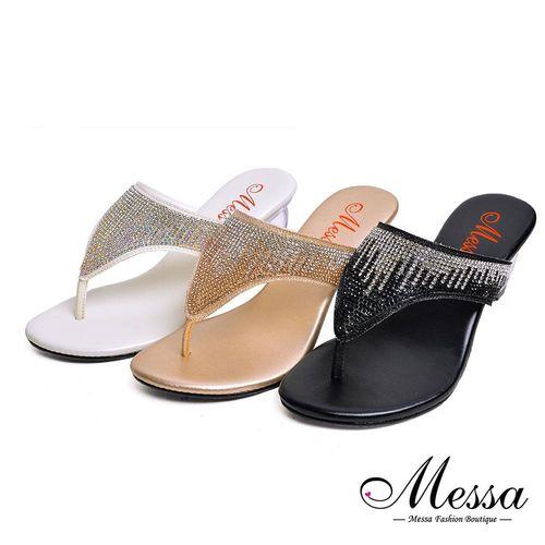 【Messa米莎專櫃女鞋】MIT閃耀漸層水鑽配色透明水晶感夾腳涼鞋-三色