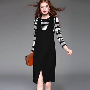 【M2M】條紋長袖上衣吊帶開衩裙兩件套(共二色)