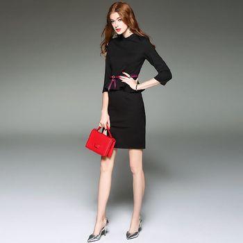 【M2M】簡約配色荷葉邊下擺中袖洋裝(共二色)