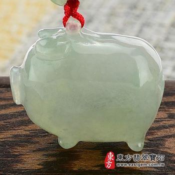 【東方翡翠寶石】豬事如意A貨翡翠玉珮花件(淡綠糯種)PG006