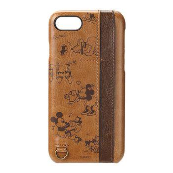 iJacket 迪士尼 iPhone7 4.7吋 皮革口袋系列 雙插卡 硬式保護殼 - 棕色米奇