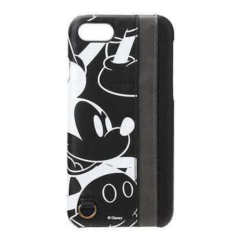 iJacket 迪士尼 iPhone7 4.7吋 皮革口袋系列 雙插卡 硬式保護殼 - 黑色米奇