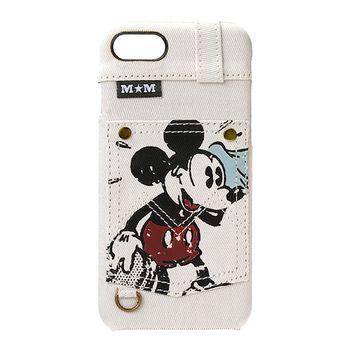 iJacket 迪士尼 iPhone7 4.7吋 經典牛仔 口袋系列 硬式保護殼 - 米白色米奇