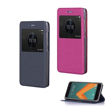 【YANG YI】揚邑HTC ONE 10/M10  金沙方窗車線側立智能休眠隱形磁扣皮套