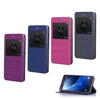【YANG YI】 揚邑Samsung Galaxy J7 2016版  金沙方窗車線側立智能APP休眠隱形磁扣皮套