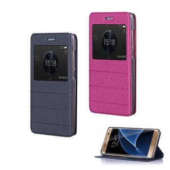 【YANG YI】 揚邑Samsung Galaxy S7 edge 金沙方窗車線側立智能APP休眠隱形磁扣皮套