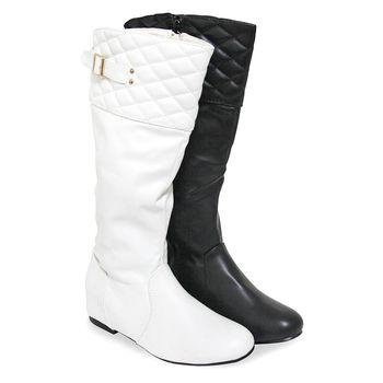 【Pretty】金屬扣飾拼格菱紋側拉鍊內增高長靴-黑色、白色