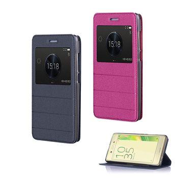 【YANG YI】揚邑Sony Xperia X Performance  金沙方窗車線側立智能APP休眠隱形磁扣皮套